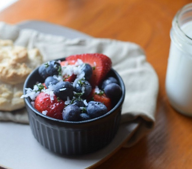 Berries and fresh mint