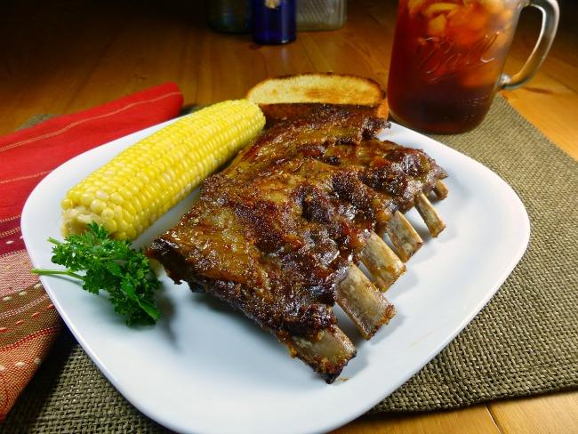 Kickin' Pork Spare Ribs on plate