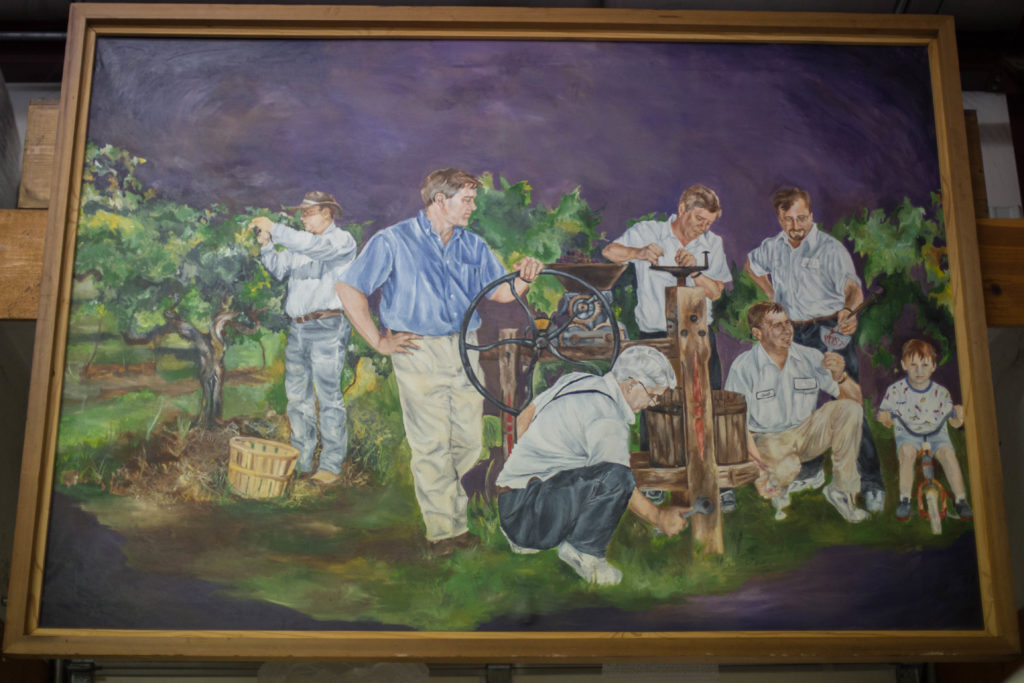 A painting of the Post clan on display at the Winery.