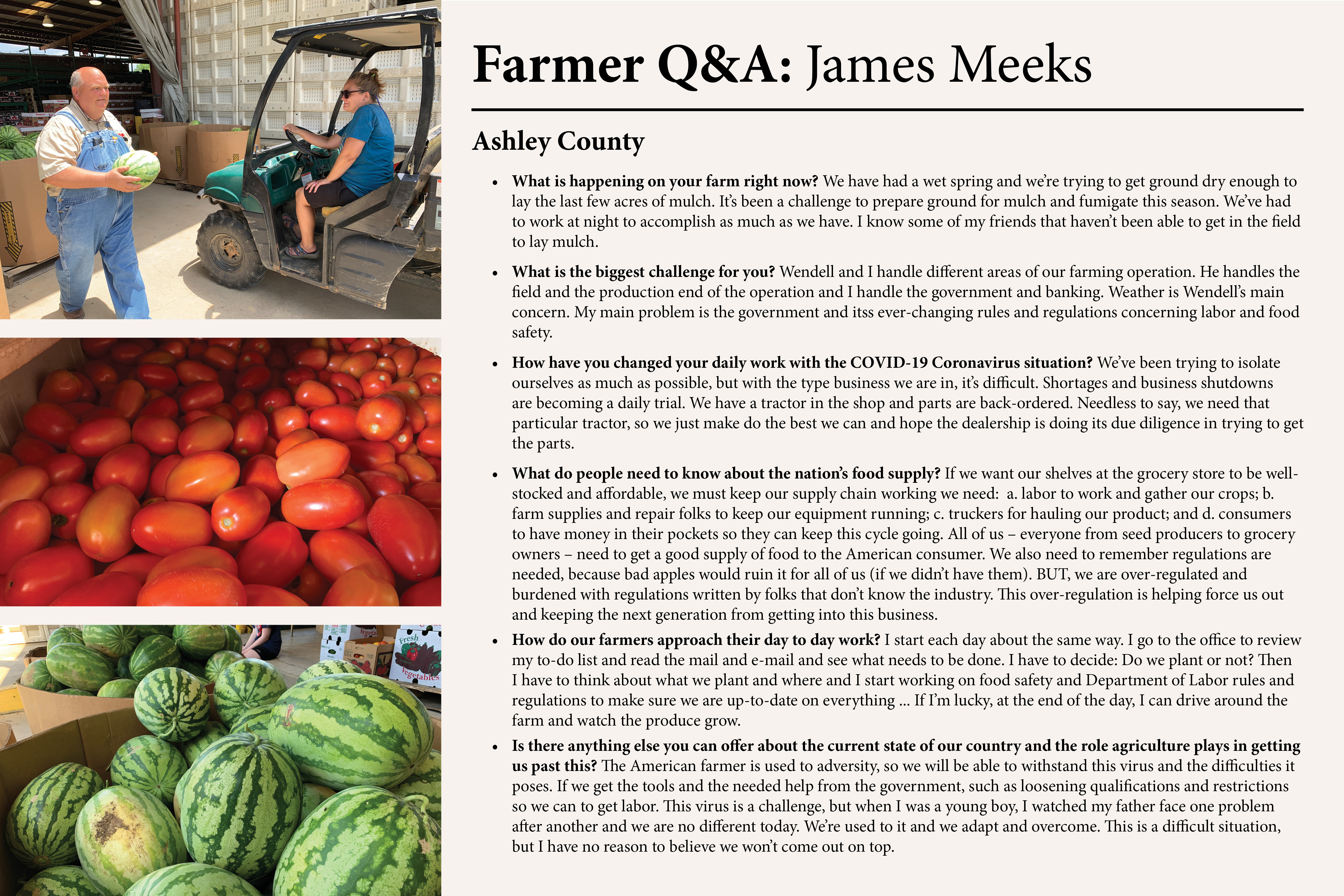 This is an image that contains copy of an interview with James Meeks of Ashley County, a produce grower.