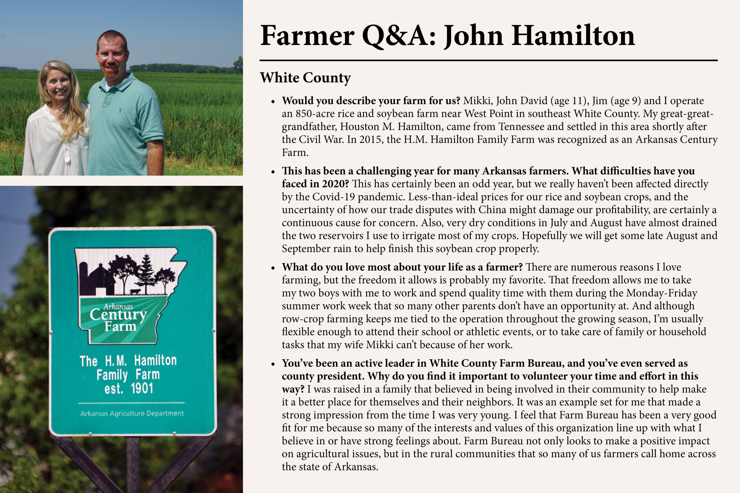 Get to know White County farmer John Hamilton and his family with these questions and answers.
